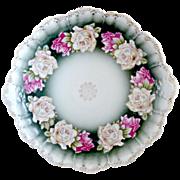 Antique porcelain platter charger heirloom roses Rosenthal c. 1890s