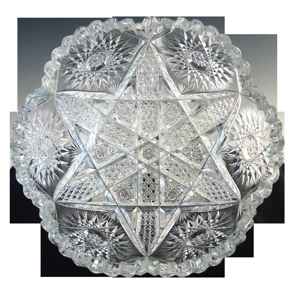 Antique cut glass berry bowl American Brilliant star pattern
