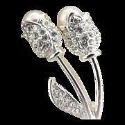 Vintage tulip brooch pearl rhinestones silver setting