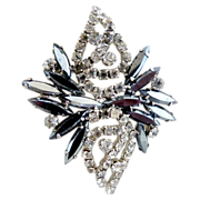 Vintage brooch rhinestones hematite navettes chaton c. 1950s