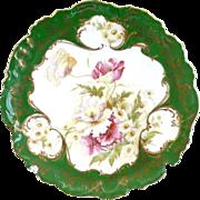 Antique Austria porcelain plate raised gold enameling florals