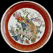 Satsuma porcelain plate Peacock pair hand decorated
