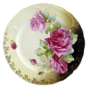 Antique porcelain plate pink roses raised enameling Germany