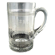 Rochester Root Beer advertising mug heavy glass etched