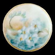 Antique porcelain button hand painted blue florals