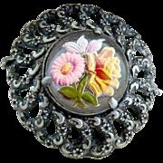 Antique guilloche daisy rose fur clip