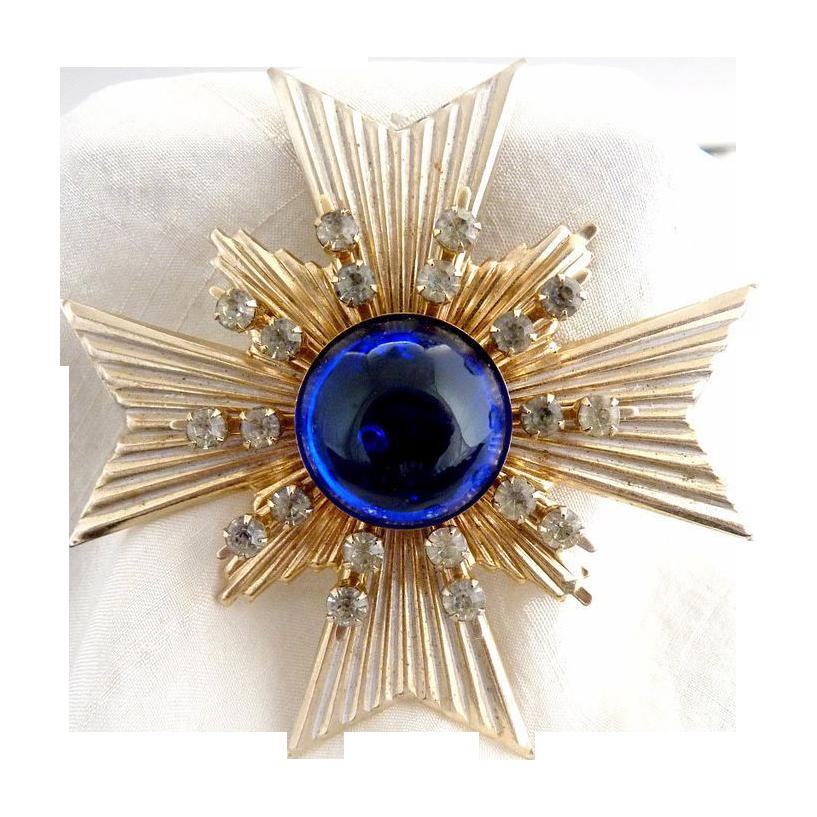 Vintage pendant blue cabochon crystal rhinestones Jerusalem Cross