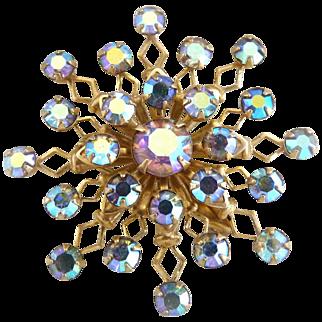 Vintage snowflake brooch aurora borealis rhinestones c. 1950