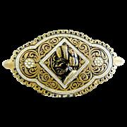 Antique blackamoor brooch brass enameled taille d'epargne