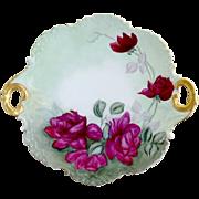 Antique porcelain charger platter American Beauty roses Rosenthal monbijou