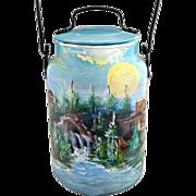 Vintage folk art milk pail Leyse hand painted Southwest scene
