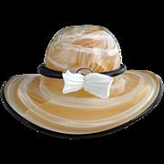 Italian Murano slag glass hat vase Venini white glass bow
