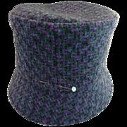 Vintage cloche wool hat gray lavender Scottish plaid hand stitched
