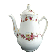Antique demitasse coffee pot bridal rose garlands Ohme Silesia