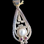 Vintage silver pendant amethyst faux pearl dangle