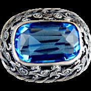 Antique brooch filigree faceted blue crystal rhinestone