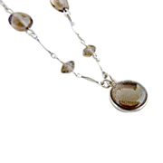 Vintage amber glass necklace sterling silver chain