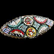 Antique Italian mosaic glass brooch flowers c. 1900