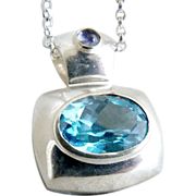 Sterling aquamarine amethyst pendant necklace .925