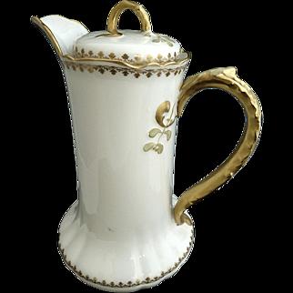 Limoges porcelain chocolate pot gold encrusted handle Lanternier c. 1891