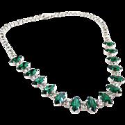 Vintage Kramer rhinestone necklace emerald navette choker