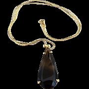 Vintage smokey quartz teardrop pendant necklace gold plated