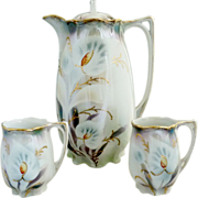 Antique porcelain chocolate pot lilies hand enameled c. 1900