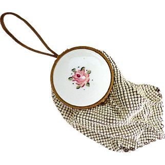 Whiting Davis mesh purse mirrored wristlet flapper purse