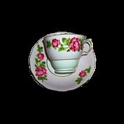 Rose Floral Tea Cup & Saucer Colclough Bone China MIE