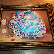 Pretty Colorful Vintage Crochet Heart Ribbon Pin Cushion