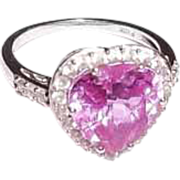 Lab Created Pink & White Sapphire 10K White Gold Heart Ring Sz 7