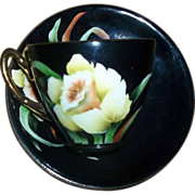 H.P. Black Tea Cup & Saucer Yellow Daffodil Motif Artist Signed