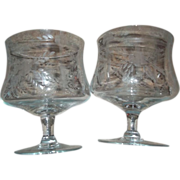 2 Vintage Crystal Glass Brandy  Cognac Liquor Snifters Etched