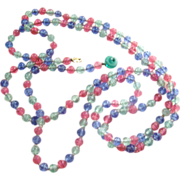 Yummy Pastel Swirl Glass Bead Necklace Hand Knotted