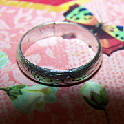 Simple Vintage Etched  Sterling Ring Wedding Band Style