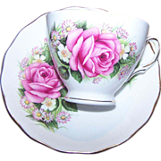 Pretty Royal Vale Rose Mixed Floral Tea Cup Saucer Set