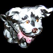 Old Ceramic Puppy Dog Threat String Scissor Holder