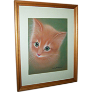 What A Charming Pencil & Pastel Framed Drawing Kitty Cat
