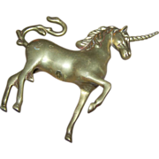 Whimsical Vintage Brass Unicorn Statue Figurine