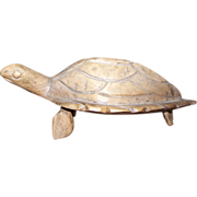 A Collectible Vintage Carved Wood Folk Art Turtle