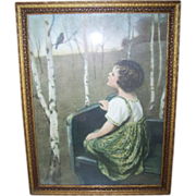 """Framed """"SPRING SONG"""" Simon Glucklich Print Lithograph Columbian Colortype"""