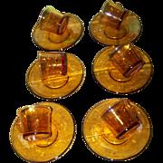 Set of 6 Vintage Duralex France Amber Glass Small Demi-Tasse Cup Saucer Sets