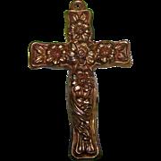 Embossed Metal Ware Floral Repousse Art Nouveau Cross Crucifix Pendant