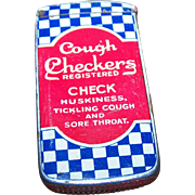 Collectible  Canadian Vintage Checkers Cough Tin Match Safe Vesta
