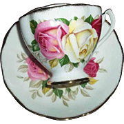Charming Lady Sylvia Queen Anne England Yellow Pink Red Roses Tea Cup Saucer Set