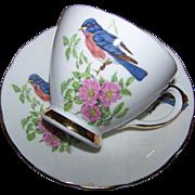 Lovely Vintage Sutherland Blue Bird Pink Floral Tea Cup Saucer Set England