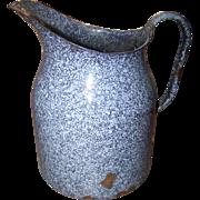 Primitive Granite Ware Graniteware Pitcher