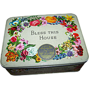 Advertising Tin Box BLESS THIS HOUSE Carr's of Carlisle Assorted Biscuits  England