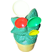 Funky Retro Plastic Palm Tree in Planter Measuring Spoon Holder Wall Mount or Counter Style