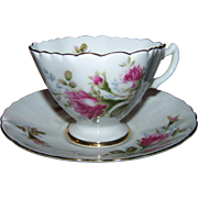 Unusual Shaped Tea Cup Saucer Set Westville Fine China Japan Rose Floral Pattern